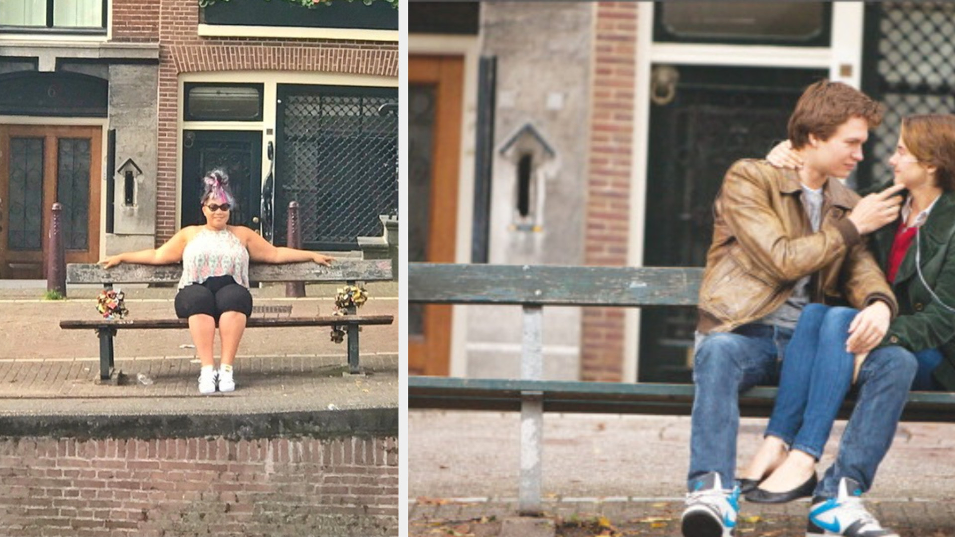 A woman is sitting on a bench on the left with a couple on the right on an Amsterdam street