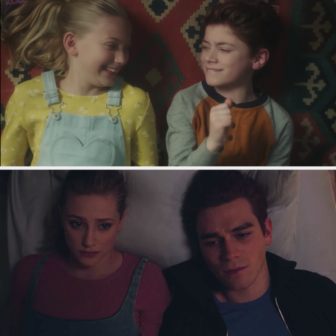 Betty and Archie listening to music together as little kids alongside them lying on the bed next to each other in present day