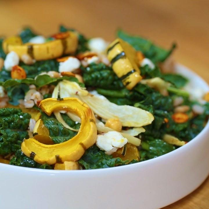 Roasted Delicata Squash And Farro Salad