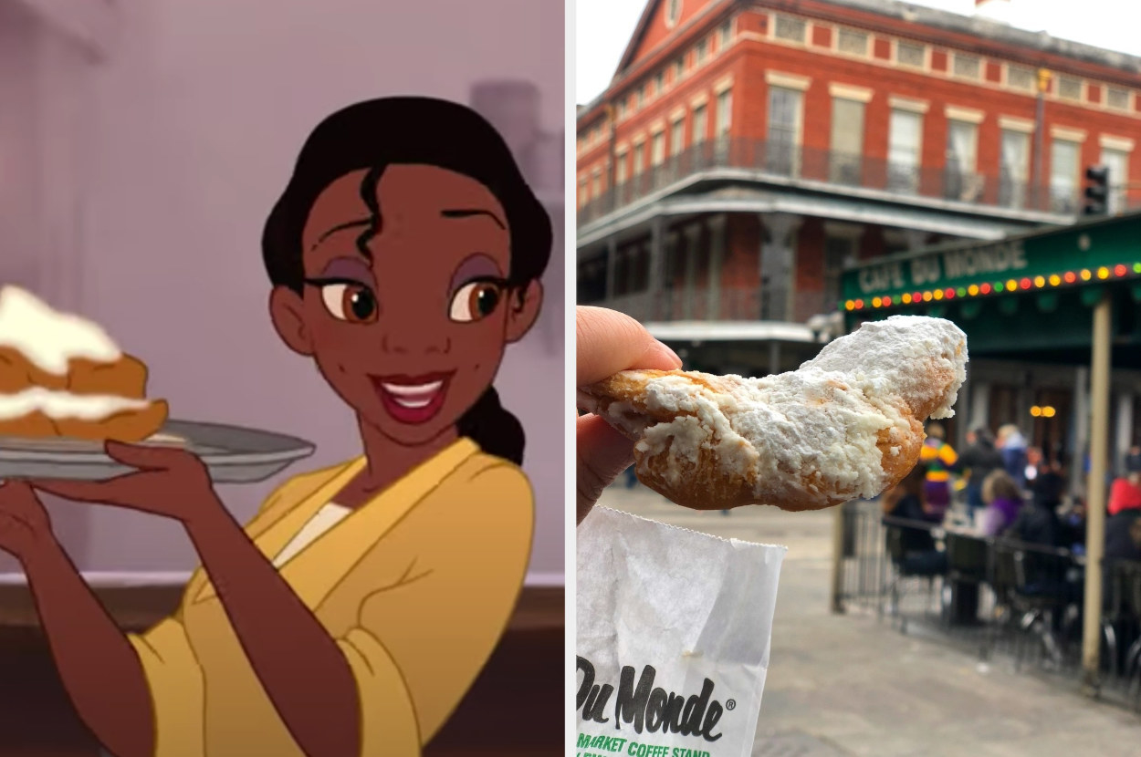 Princess Tiana is holding a tray of beignets with a woman holding a bag of beignets on the right