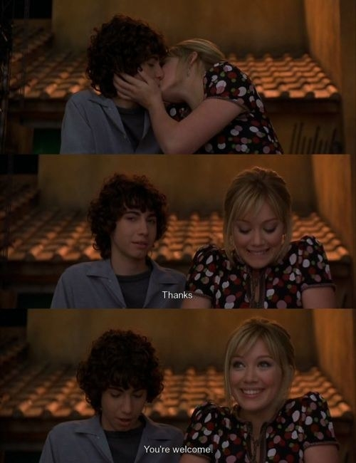 Gordo thanking Lizzie after kissing him