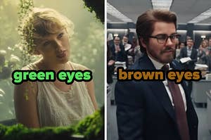 On the left, Taylor Swift in the Cardigan music video labeled green eyes, and on the right, Taylor in the The Man music video labeled brown eyes