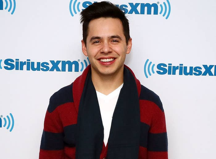 David smiles while wearing a navy and red striped cardigan