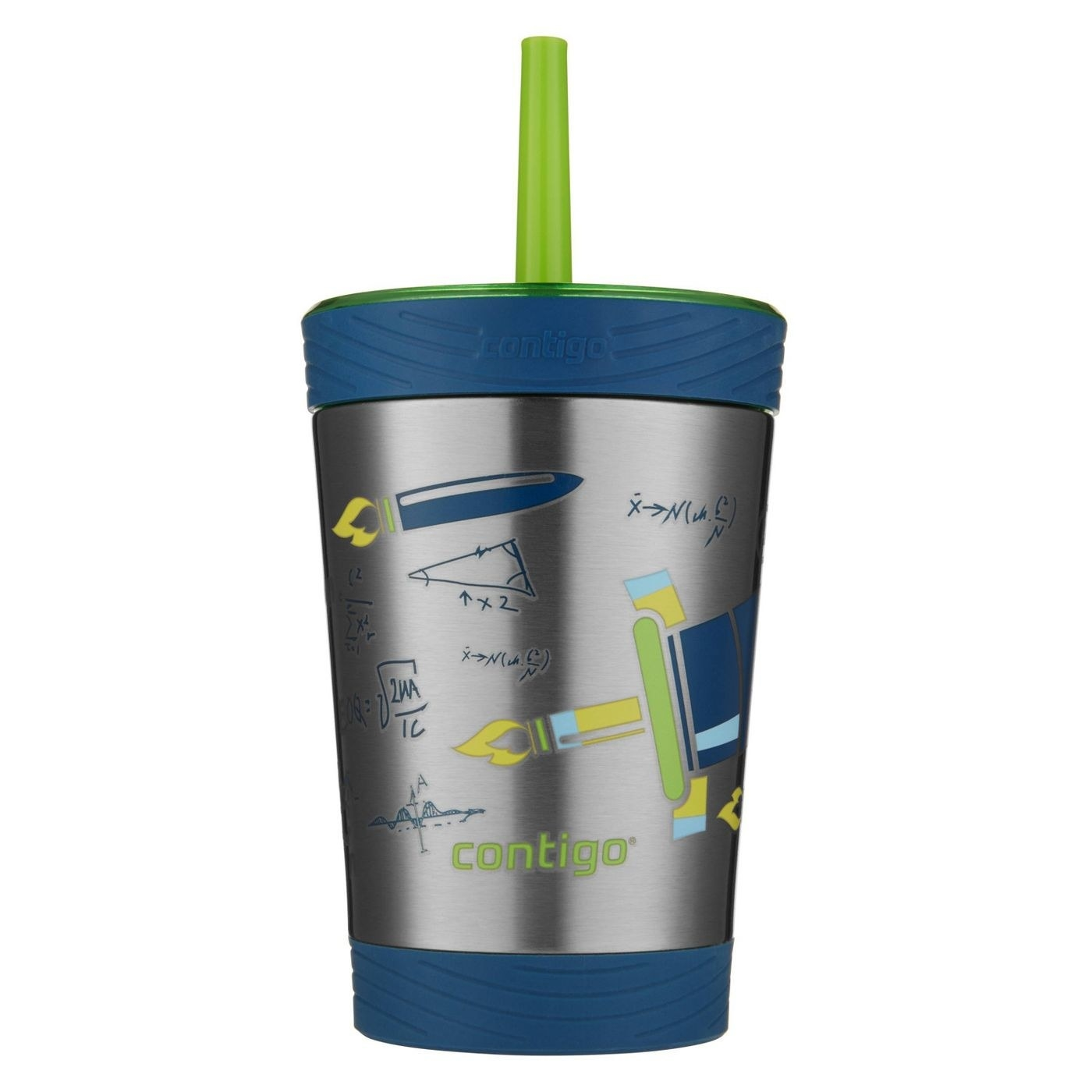 A stainless steal kids cup with green and blue space images