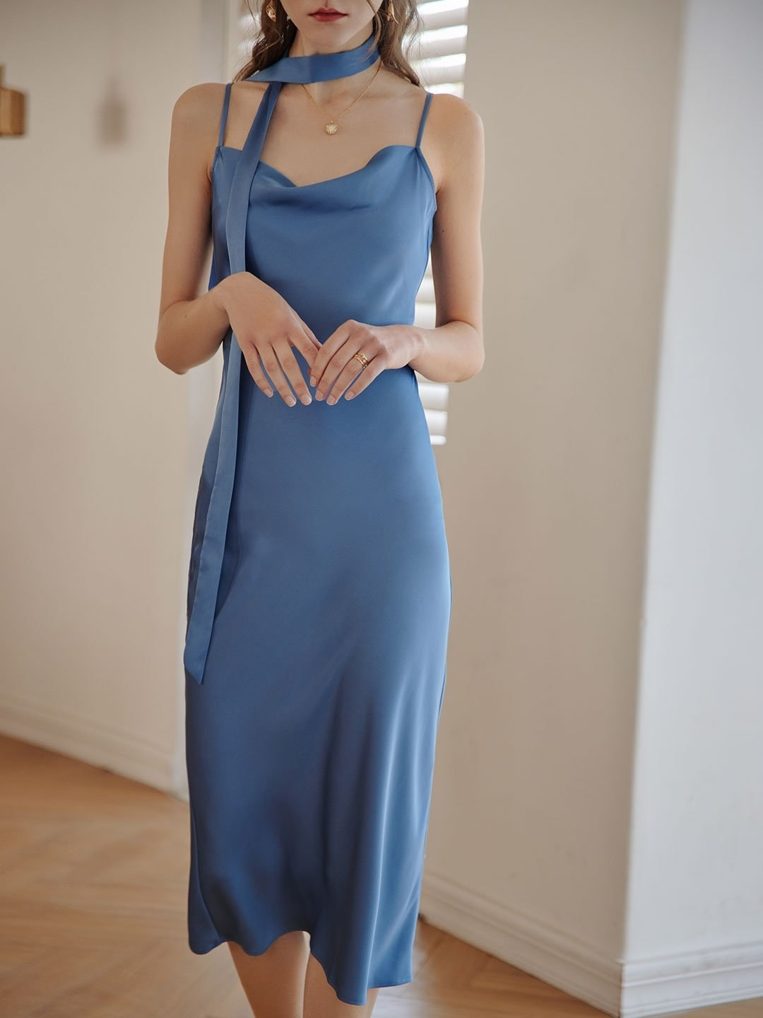 the blue satin dress with a thin scarf detail