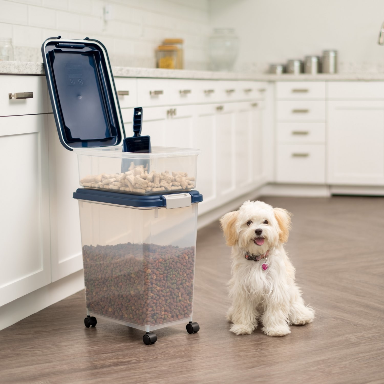A two bin dog food storage container with scoop.