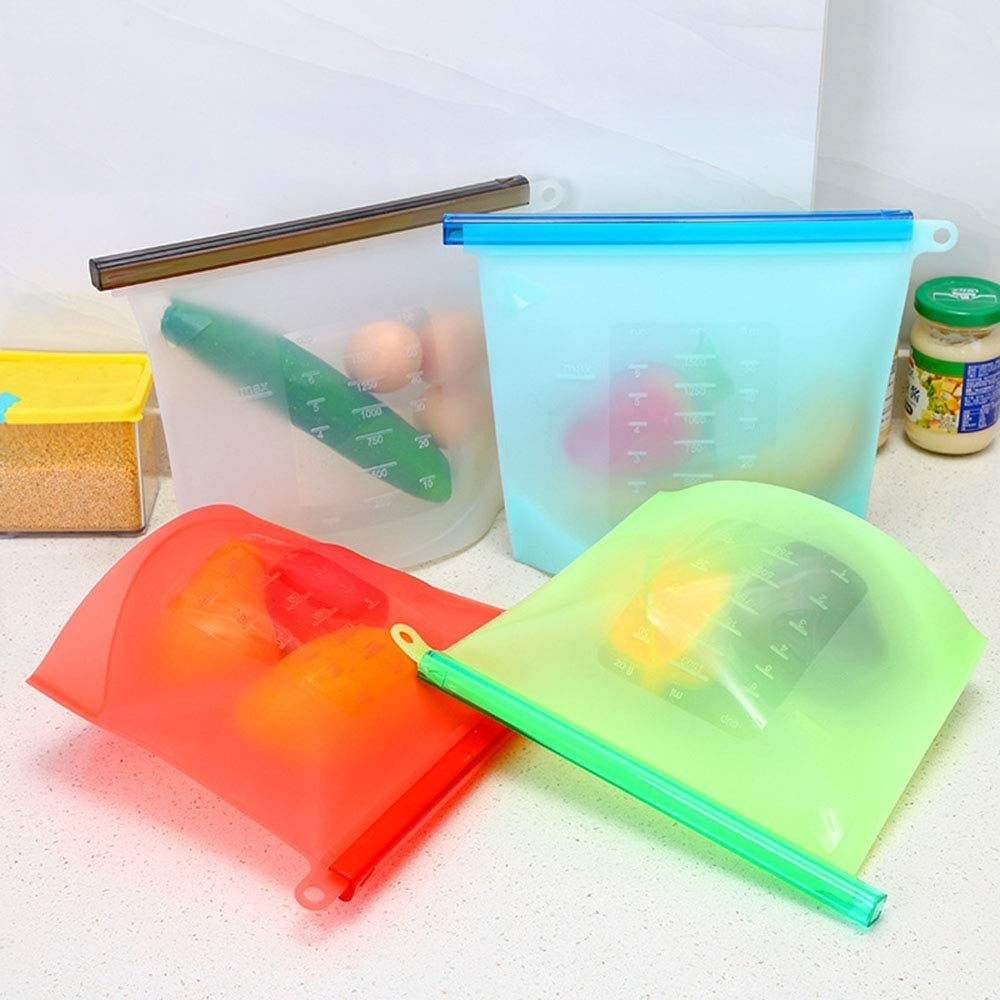 The silicone storage bags with food in them
