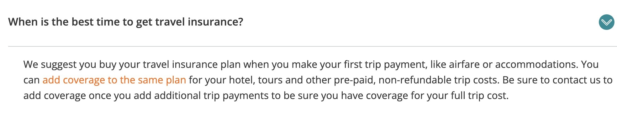 Screenshot of when the best time to buy travel insurance is