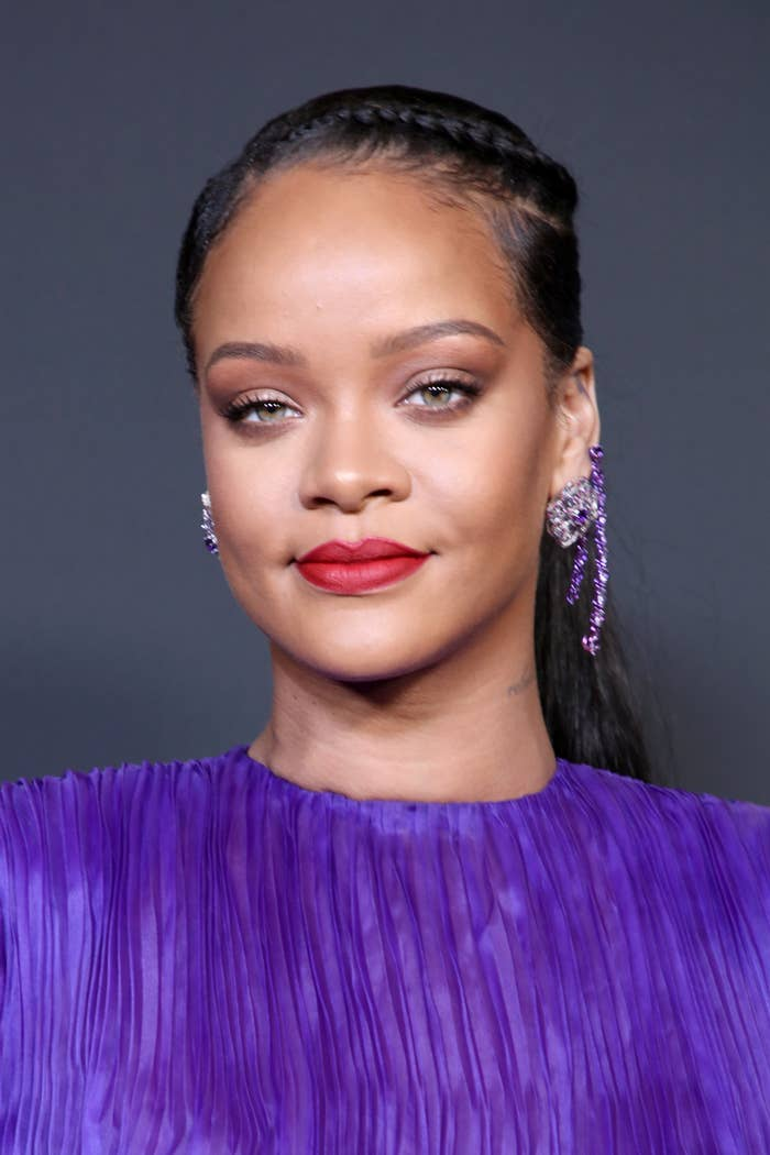 Rihanna is photographed at the NAACP Image Awards in 2020