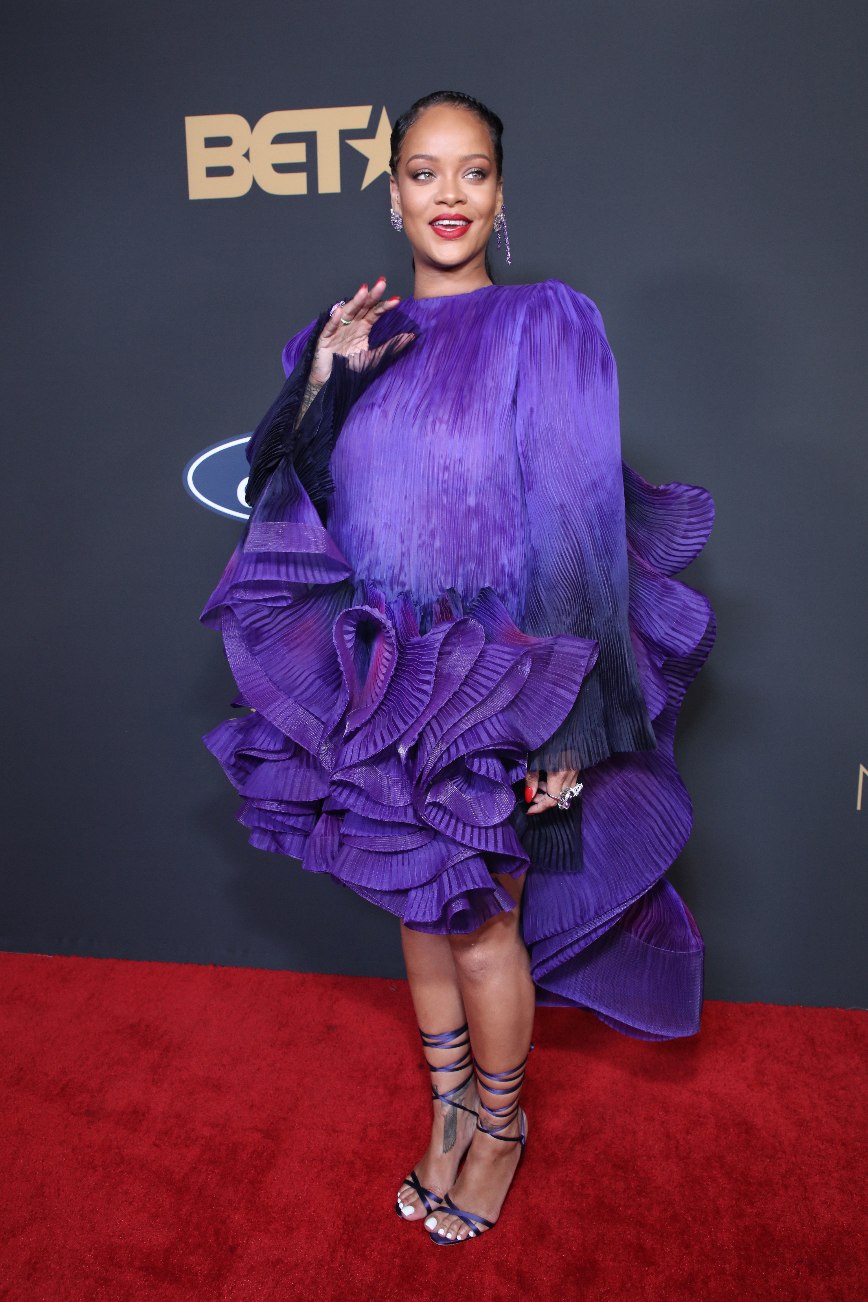 Rihanna is photographed on the red carpet at the NAACP Image Awards in 2020