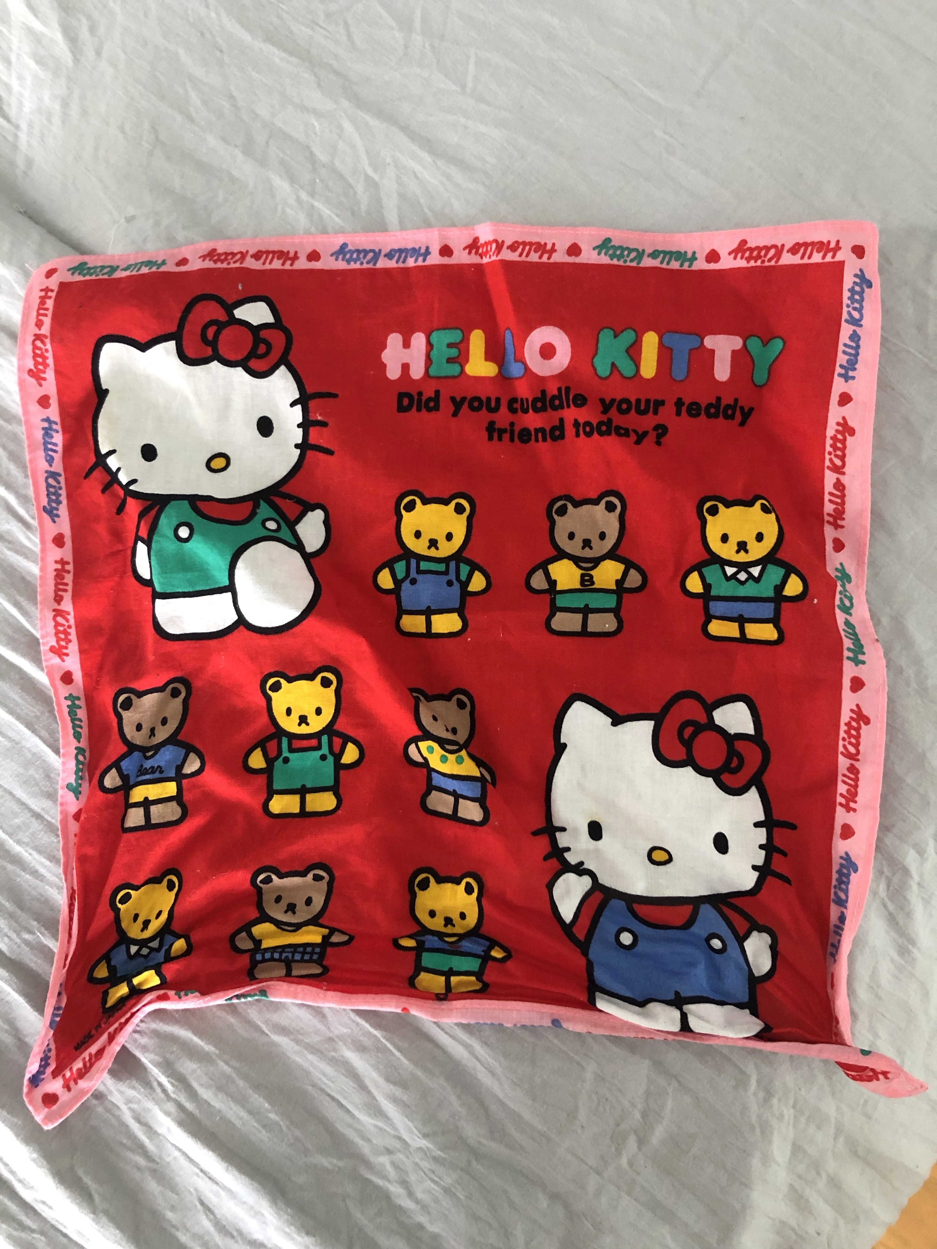 """Hello Kitty handkerchief that reads: """"Did you cuddle your teddy friend today?"""""""