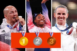 Three Olympic stars are shown with three medal emojis below them
