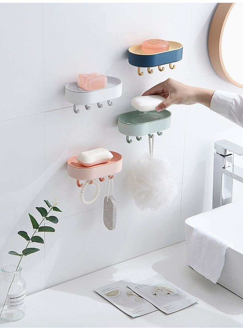4 different coloured wall mount soaps with 4 hooks attached to the bottom