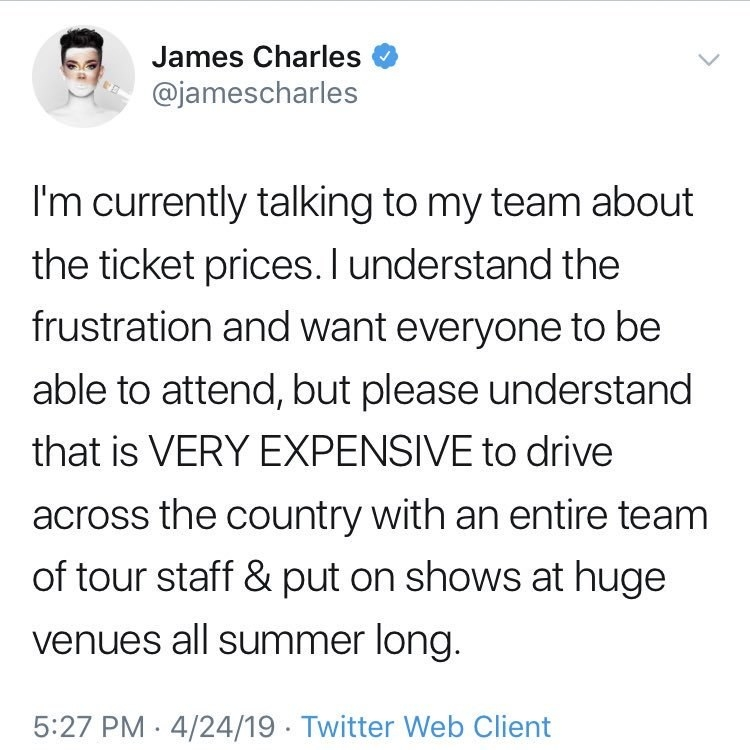 """James saying he understands the frustration over the ticket prices, """"but please understand that it is VERY EXPENSIVE to drive across the country with an entire team of tour staff and put on shows at huge venues all summer long"""""""