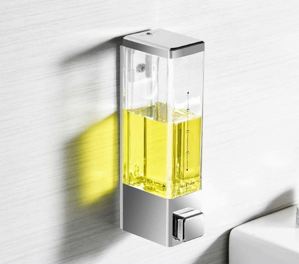 A transparent soap dispenser with a soap dispenser button