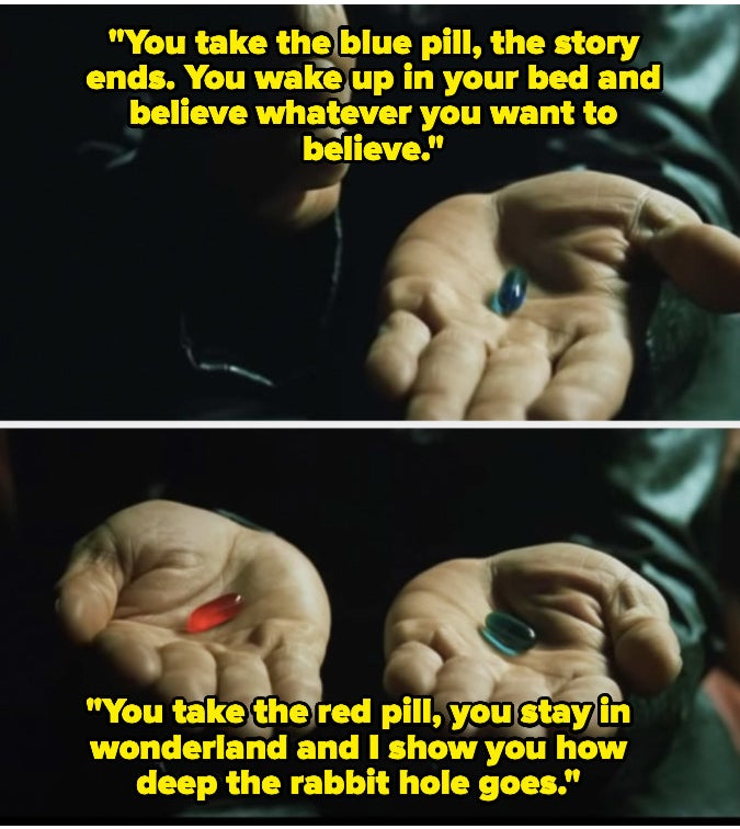 """Morpheus explaining the blue and red pill to Neo in """"The Matrix"""""""