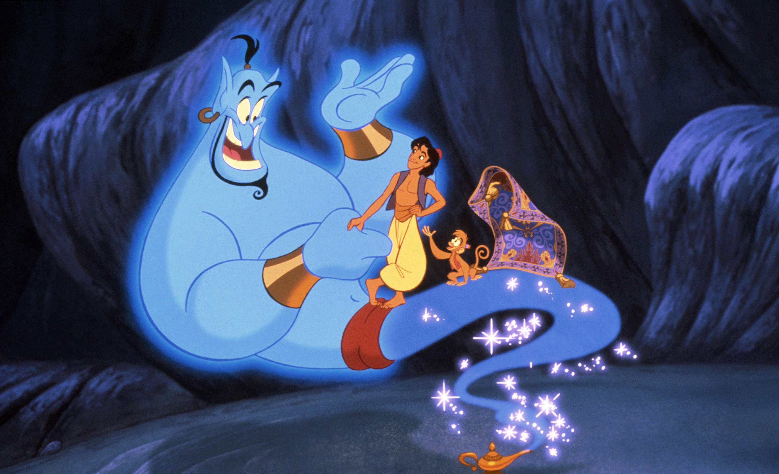 """The Genie, Aladdin, and Abo in the cave of wonders from """"Aladdin"""" (1992)"""