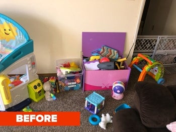 Reviewer's before photo showing a messy room with toys strewn on the floor