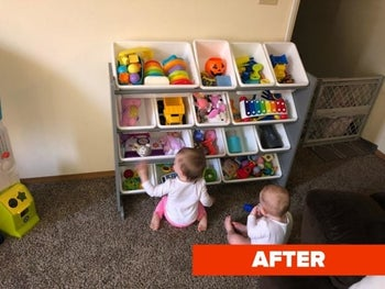 Reviewer's after photo showing a clean room with toys stored in the organizer