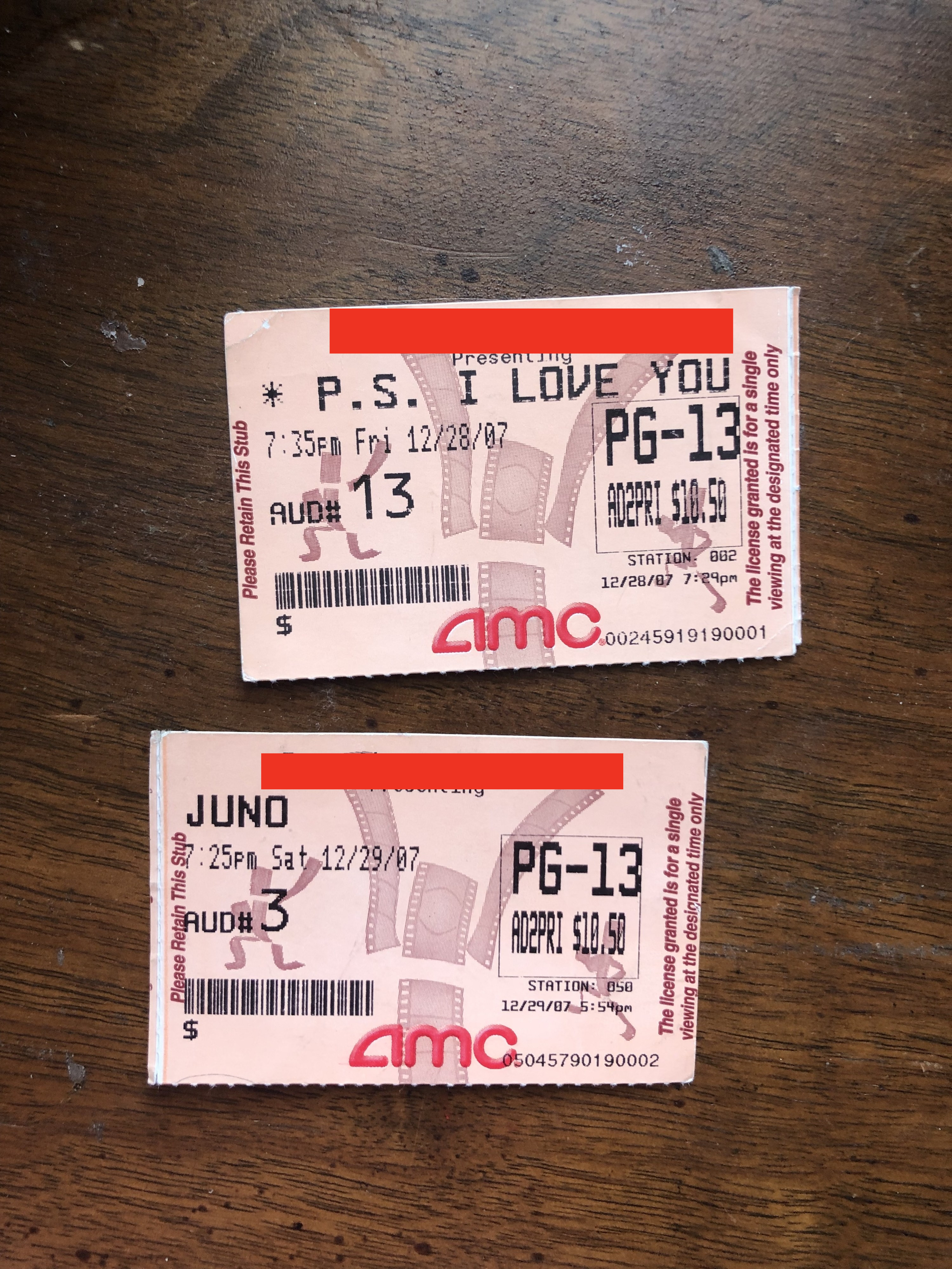 """""""Juno"""" and P.S. I Love You"""" ticket stubs laying next to each other"""