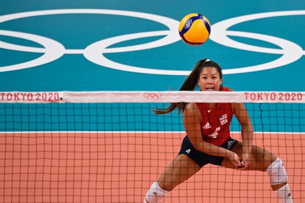 Wong-Orantes watching the ball in a women's volleyball match between USA and Argentina