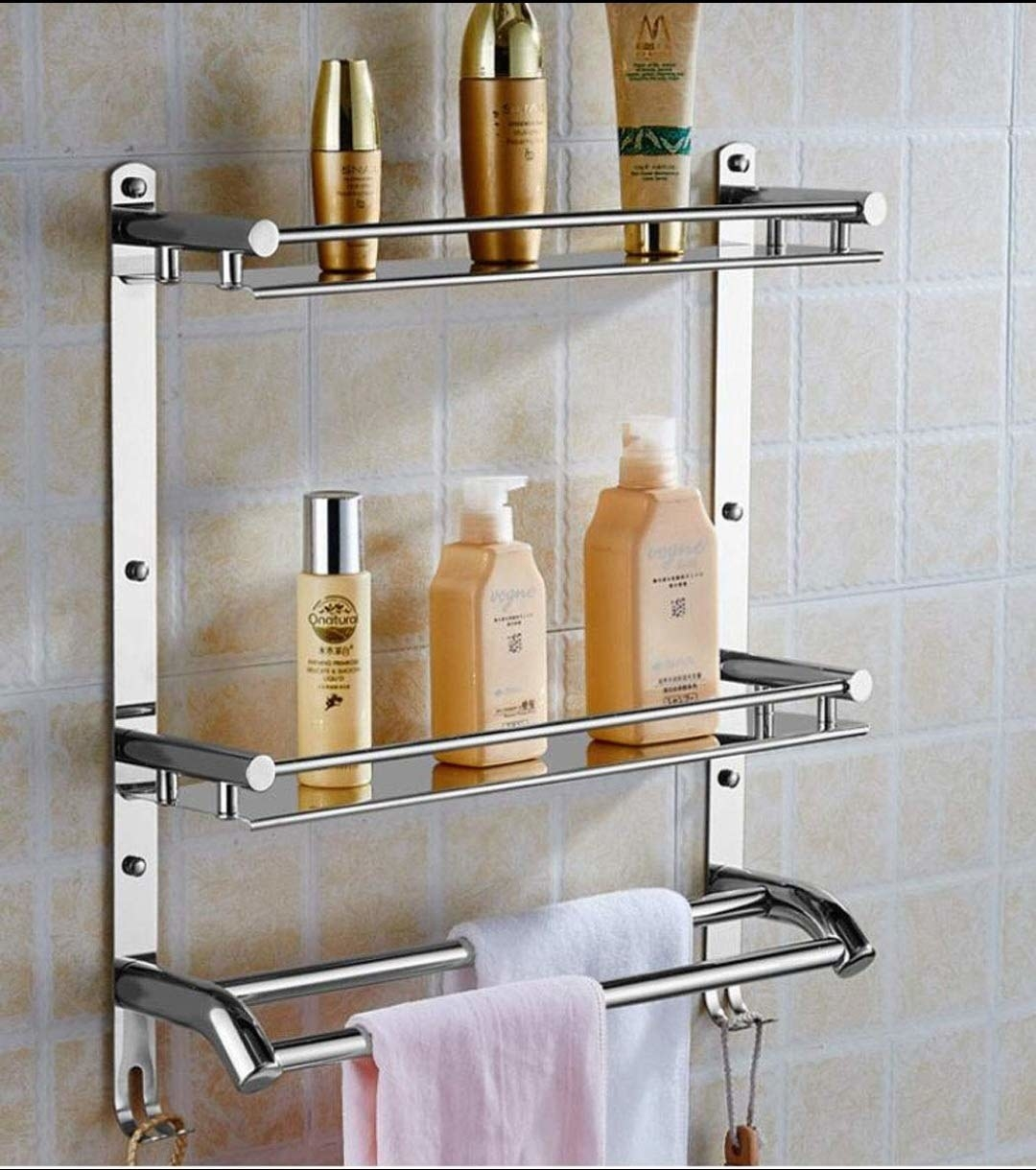 A stainless steel 3-tier bathroom rack with hooks and towel holders