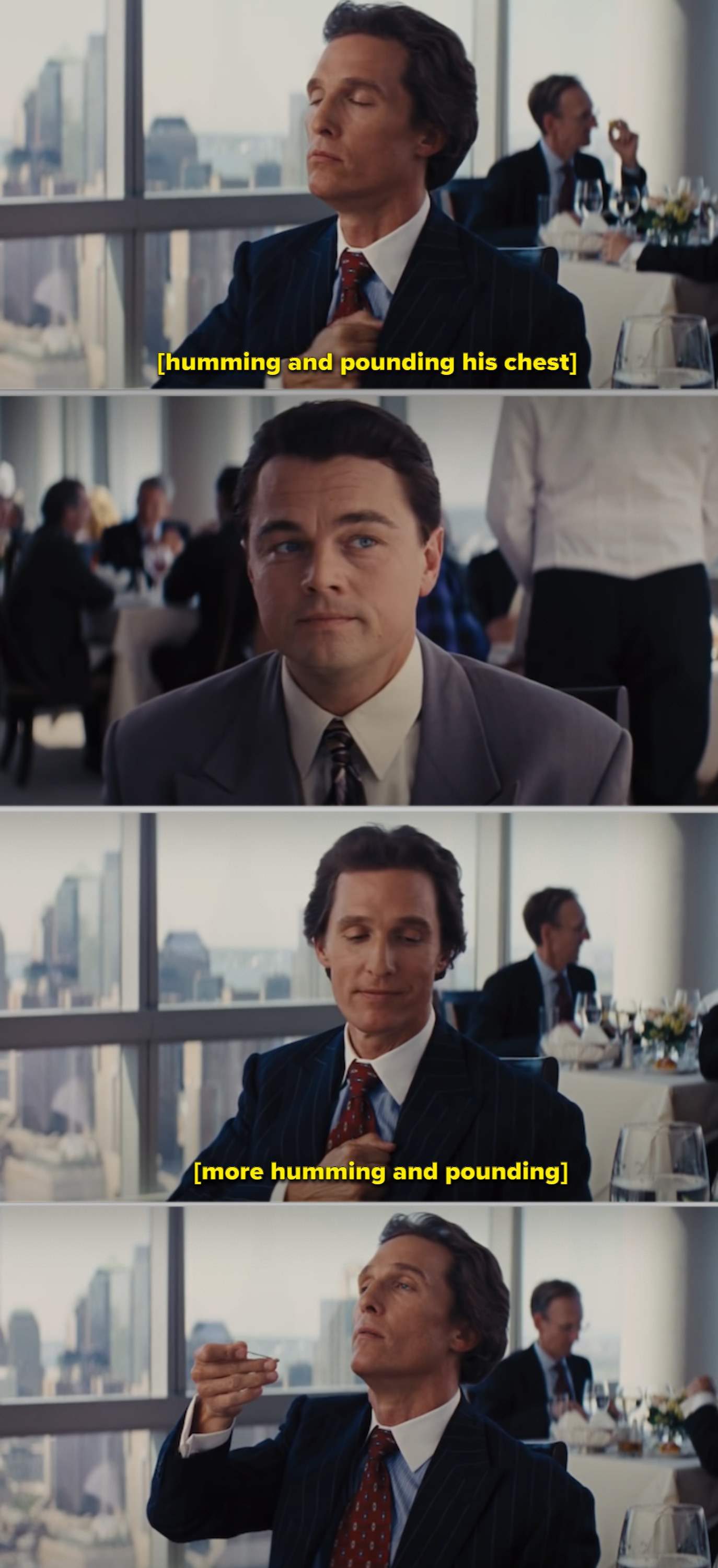 McConaughey and DiCaprio's characters at a fancy restaurant