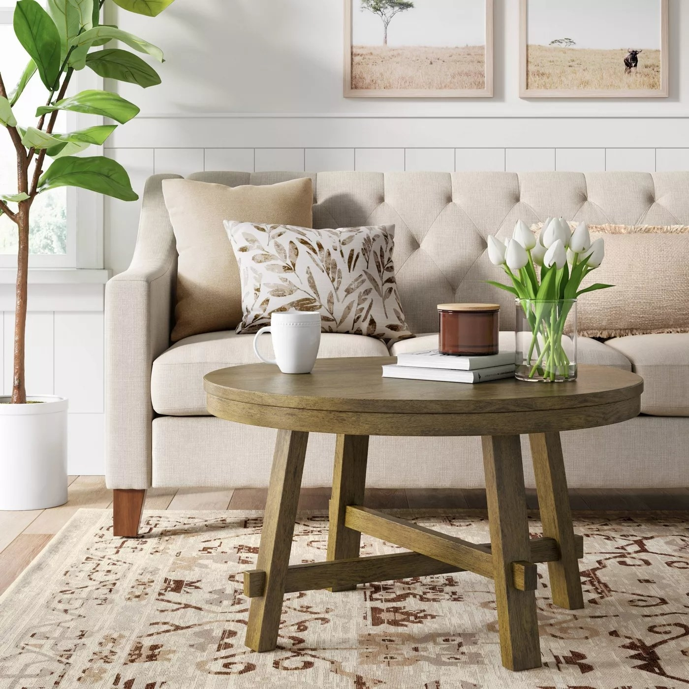 The coffee table with crisscross legs in a living room