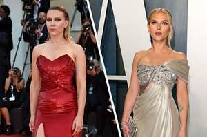 Scarlett Johnansson wears a strapless sparkly gown and Scarlett Johansson wears a strapless one shoulder gown