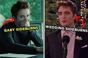 """On the left, Edward sitting in class with his hand over his mouth labeled """"baby sideburns,"""" and on the right, Edward making a speech at his wedding with an arrow pointing to his sideburns and """"wedding sideburns"""" typed under his face"""