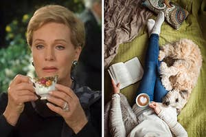 """On the left, Julia Andrews holding a cup of tea to her lips as Clarisse in """"The Princess Diaries,"""" and on the right, someone lying in bed with a latte in one hand, a book in the other, and a dog near their lap"""