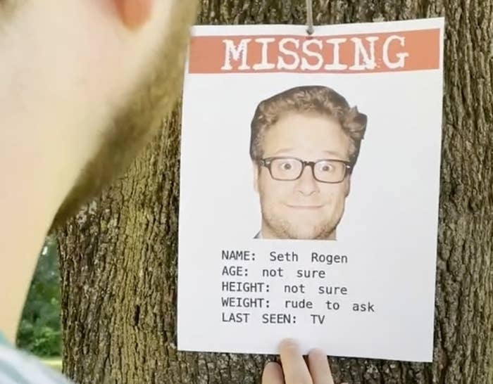 """A screenshot from the TikTok of a missing poster with Seth's face and the words """"Age not sure, Height not sure, Weight rude to ask, Last seen on TV"""""""