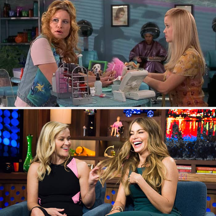 Above, Elle Woods is getting her nails done and talking to Paulette in the salon. Below, she is laughing with Sofia Vergara on a talk show