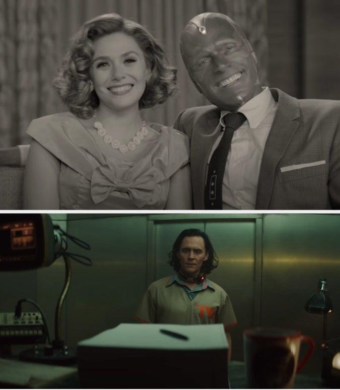 """Wanda and Vision from """"WandaVision"""" and Loki from """"Loki"""""""