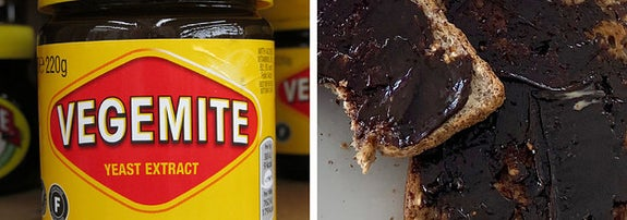 Left: Jar of Vegemite; Right: Two pieces of toast covered with a thick layer of Vegemite