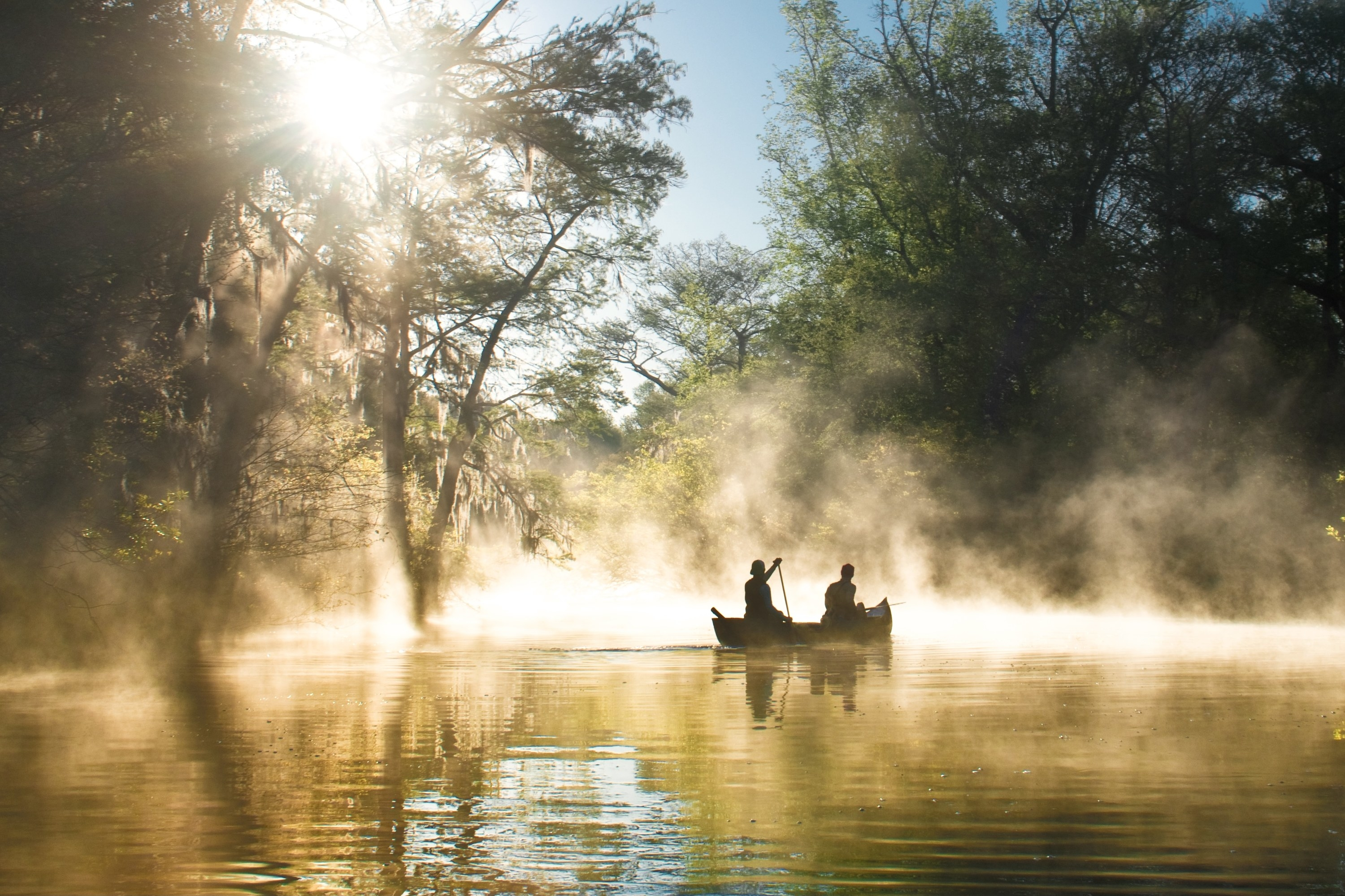 Two people on a canoe paddle through the everglades with sunshine illuminating the mid-afternoon fog around them.