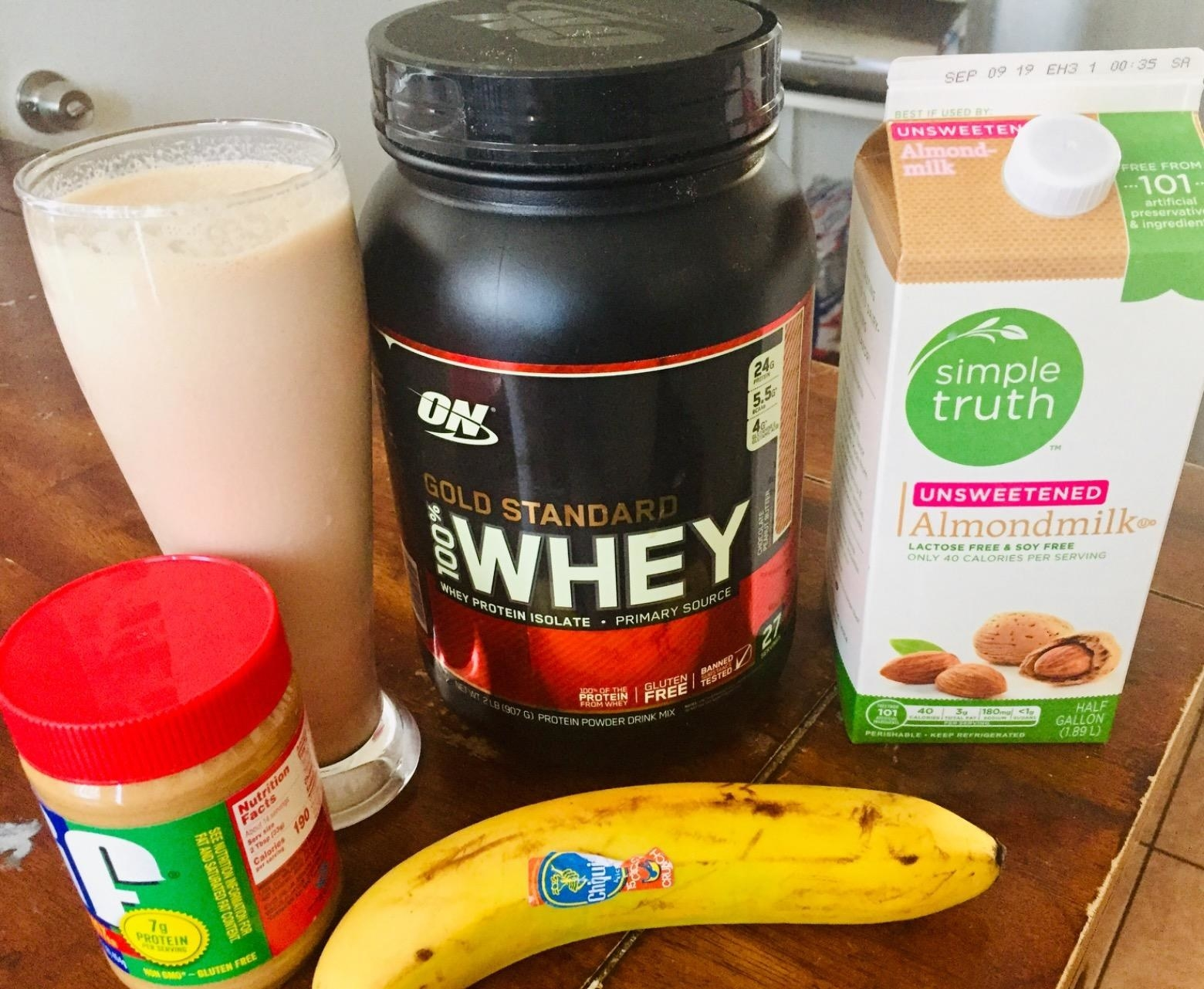 The protein powder and shake ingredients