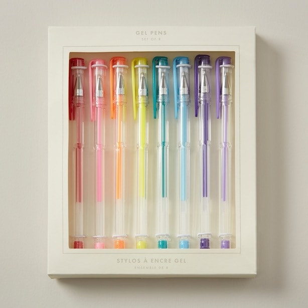 a pack of eight coloured gel pens