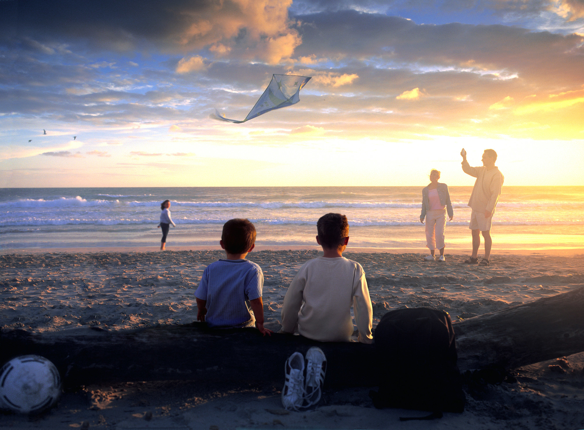 A family having fun on a beach