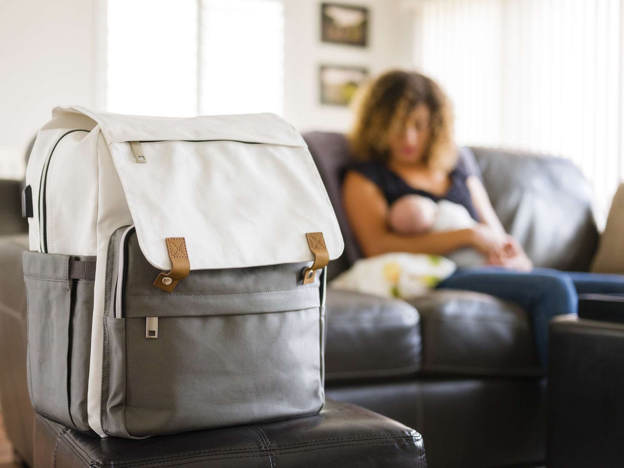 A mom with her diaper bag