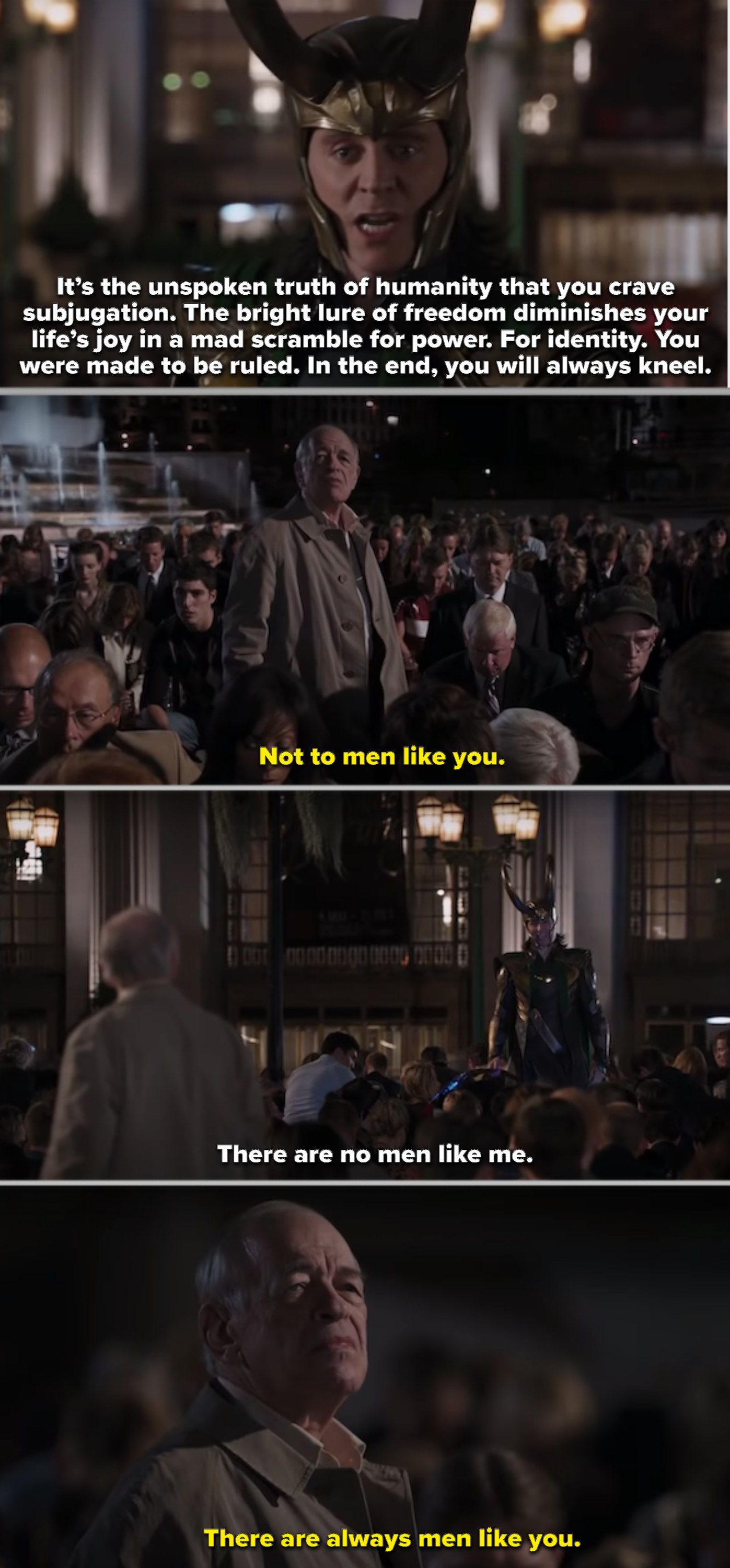 The old man standing up to Loki