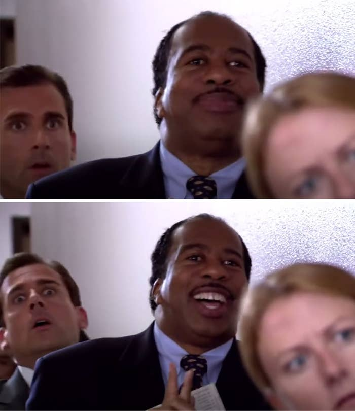 Stanley stands in line for Pretzel Day with a huge smile