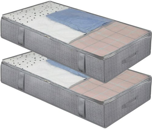 Two grey underbed storage bags