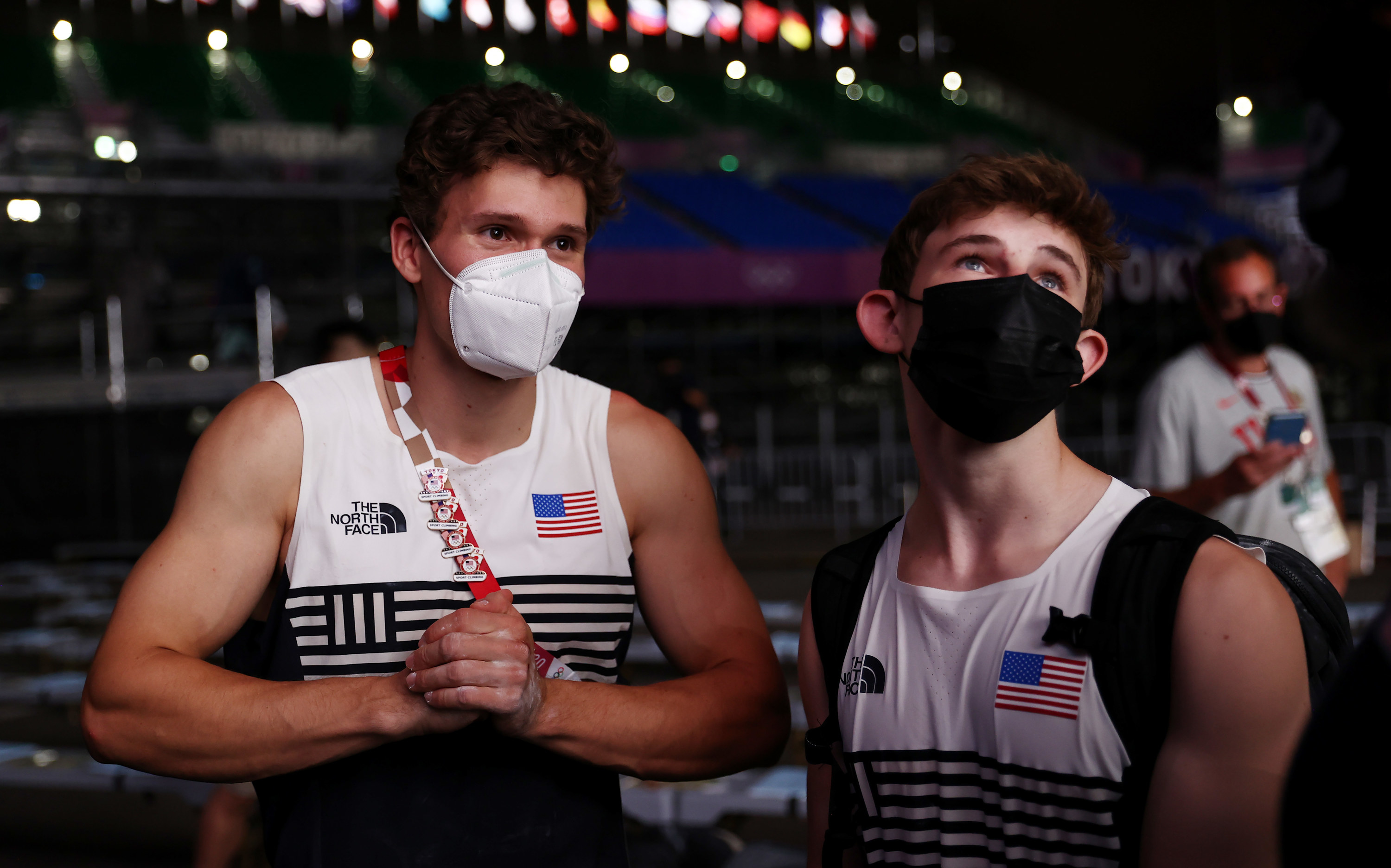 Colin Duffy and Nathaniel Coleman of The United States of America converse after qualifying for the finals