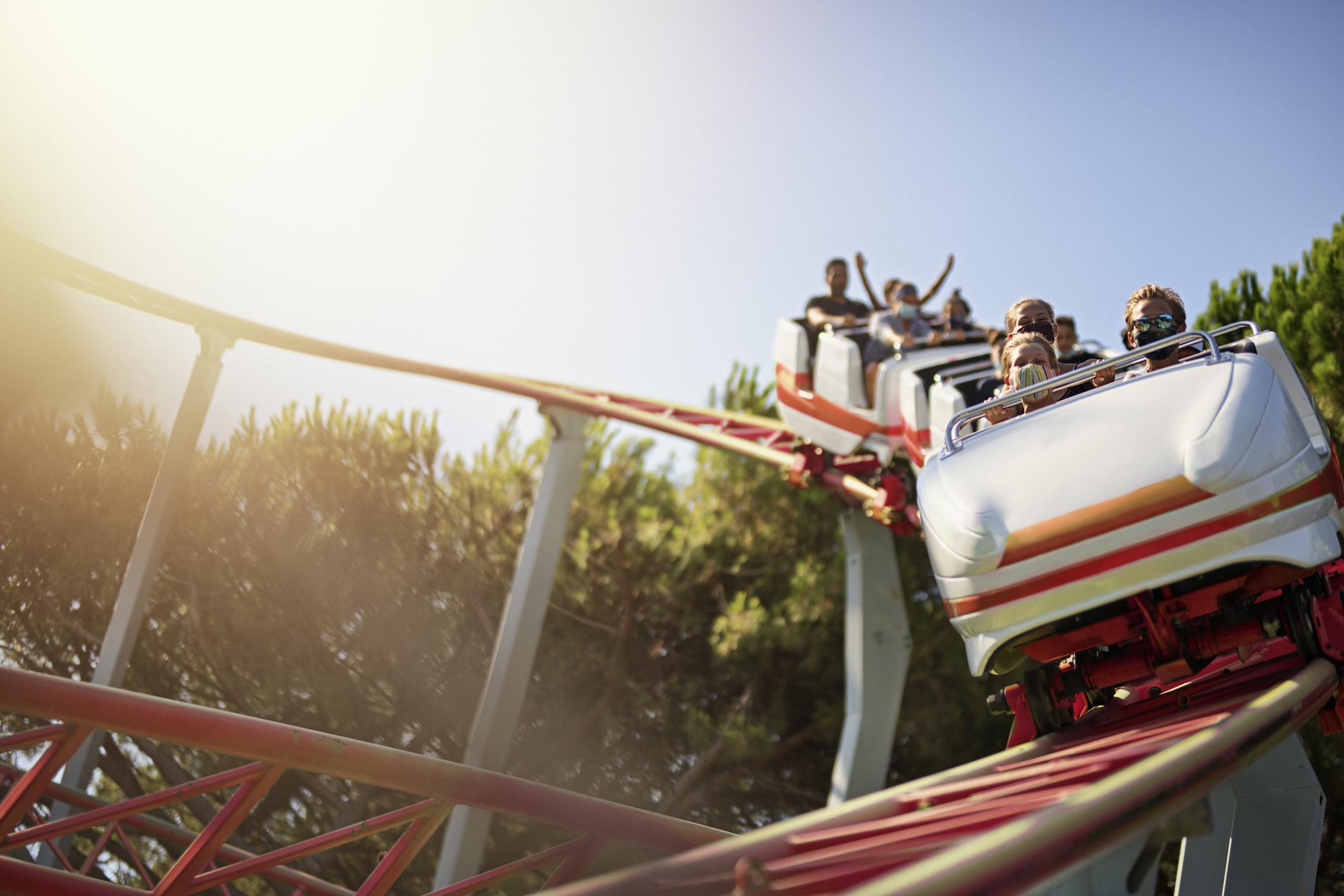 A roller coaster at a theme park