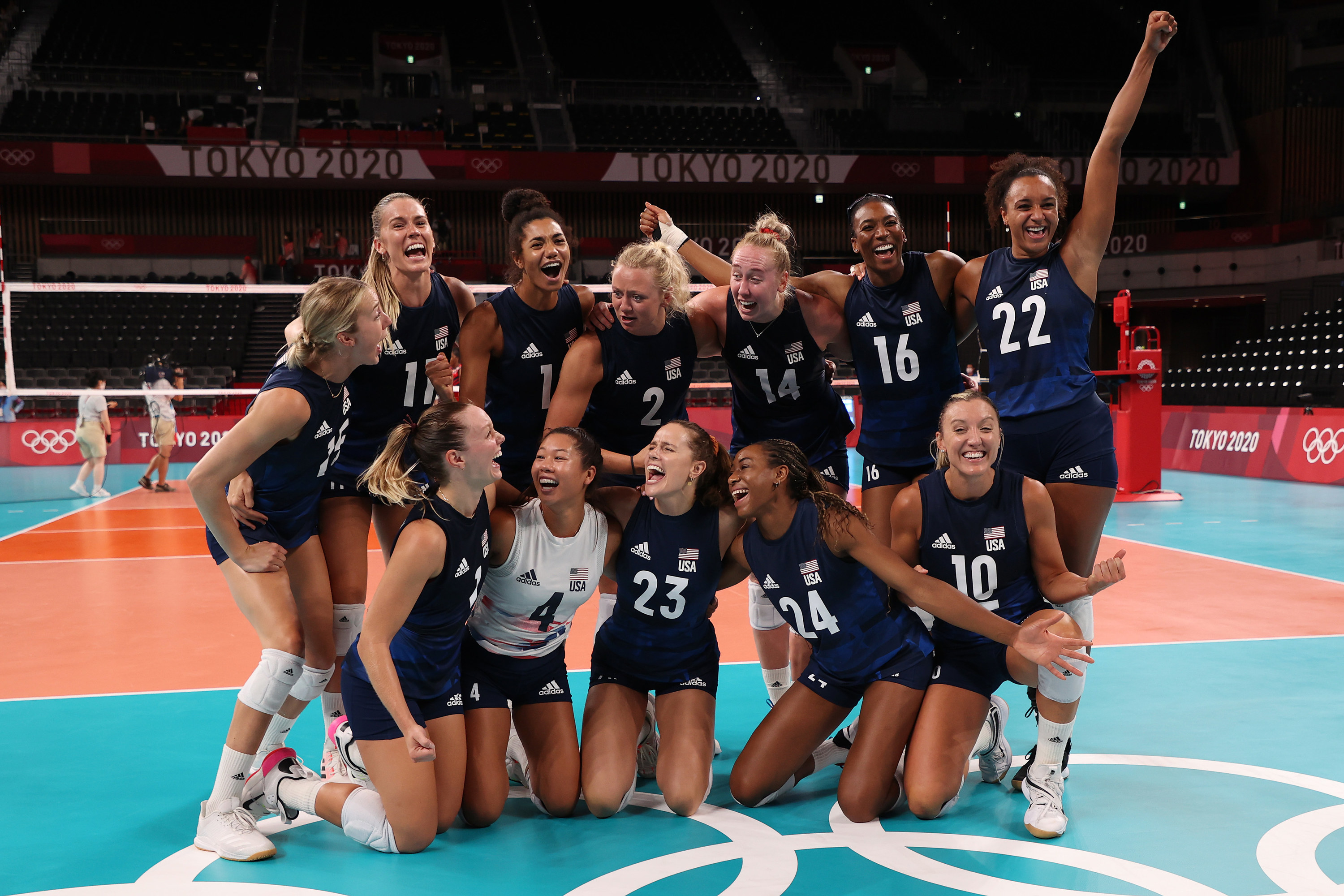 The team celebrating and posing for a picture after getting through the quarterfinals