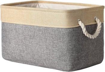 The storage bin in beige and grey