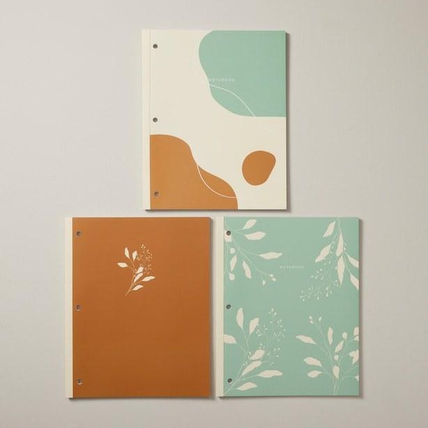 three stylish workbooks