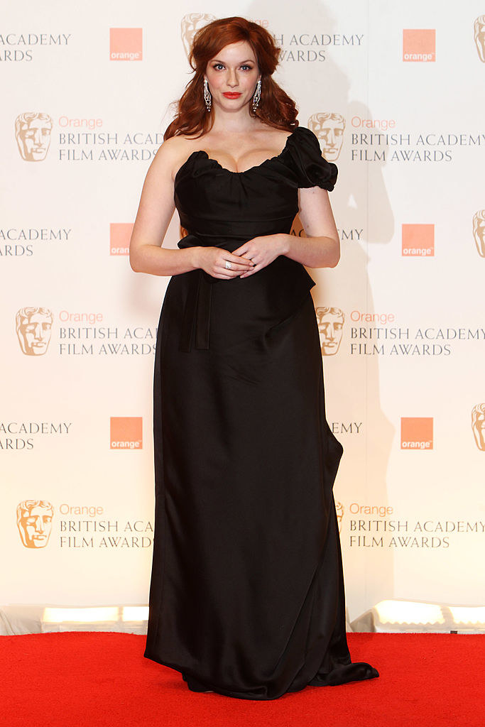 she wore a sleeveless dress to the British Academy Film Awards