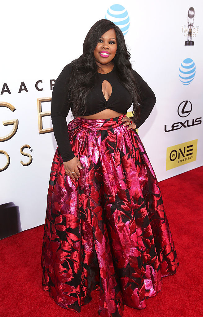 she wore a long floral skirt and dark crop top to thethe 47th NAACP Image Awards in 2016